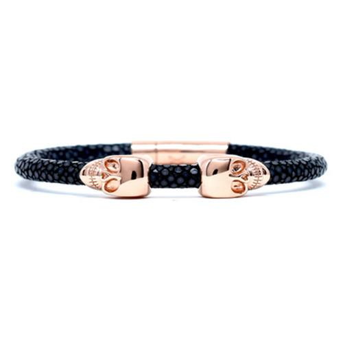 Bracelet | 2 Skulls | Black/Rose Gold