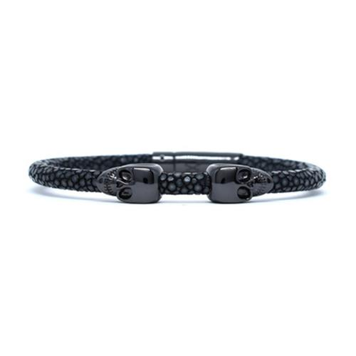 Bracelet | 2 Skulls | Black