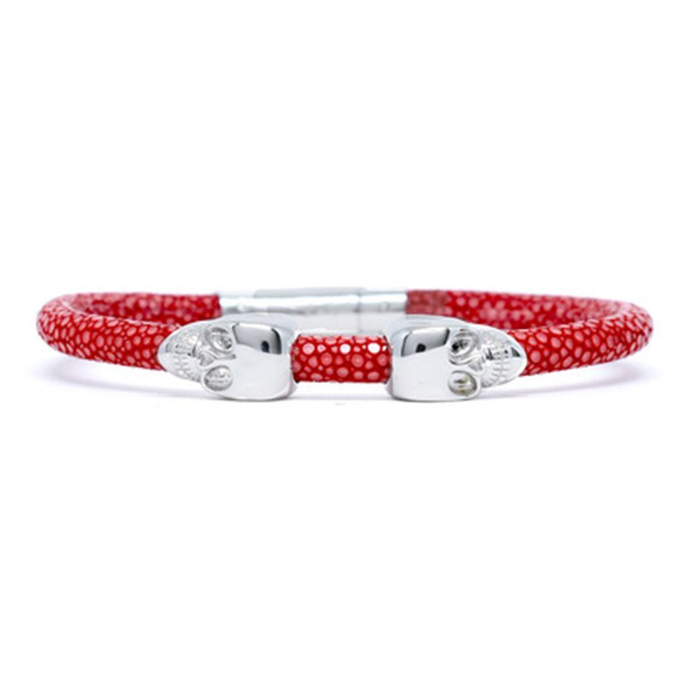 Skull Bracelet | Red | 2 Silver Skulls | Double Bone