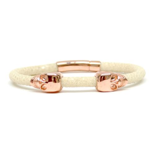 Bracelet | 2 Skulls | White/Rose Gold