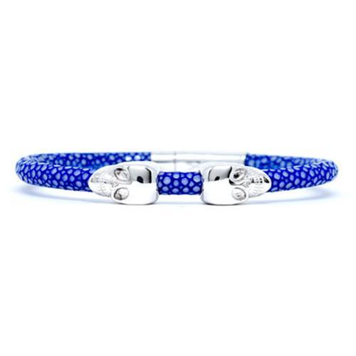 Bracelet | 2 Skulls | Blue/Silver