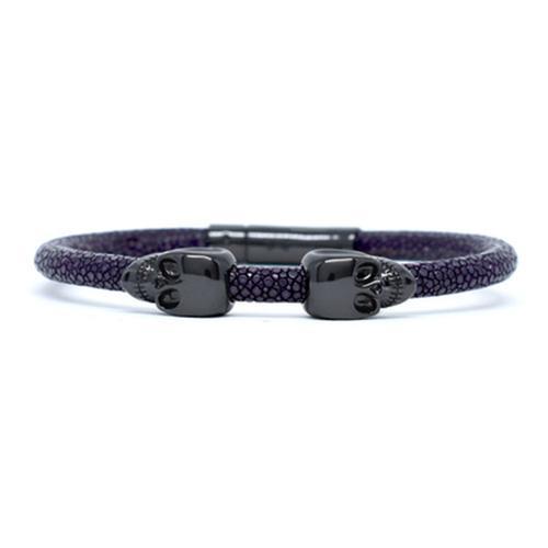 Bracelet | 2 Skulls | Purple/Black
