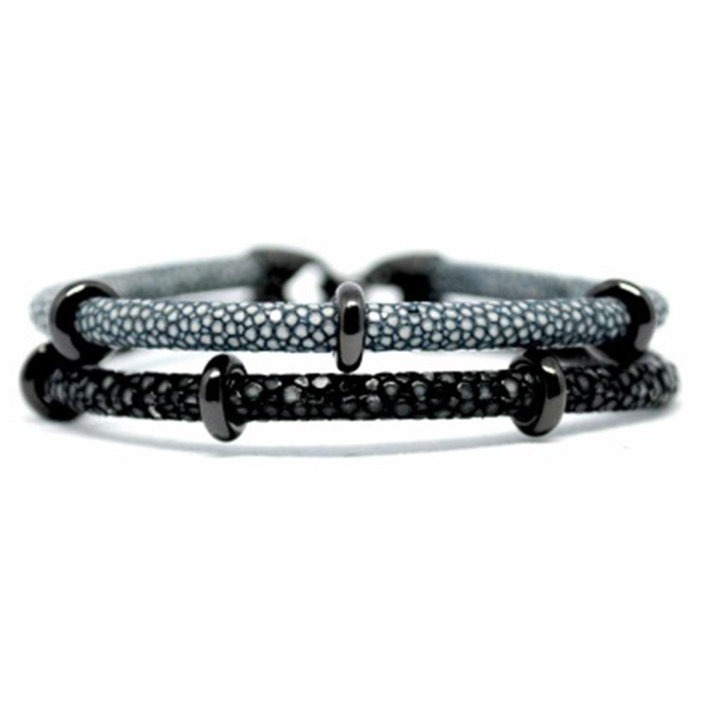 Double Stingray Bracelet | Gray & Black | Double Bone