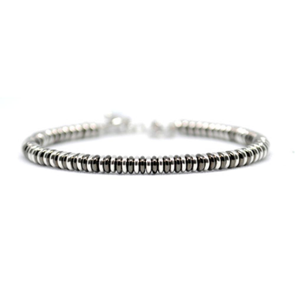 Single Beaded Bracelet | Black & White Gold | Double Bone