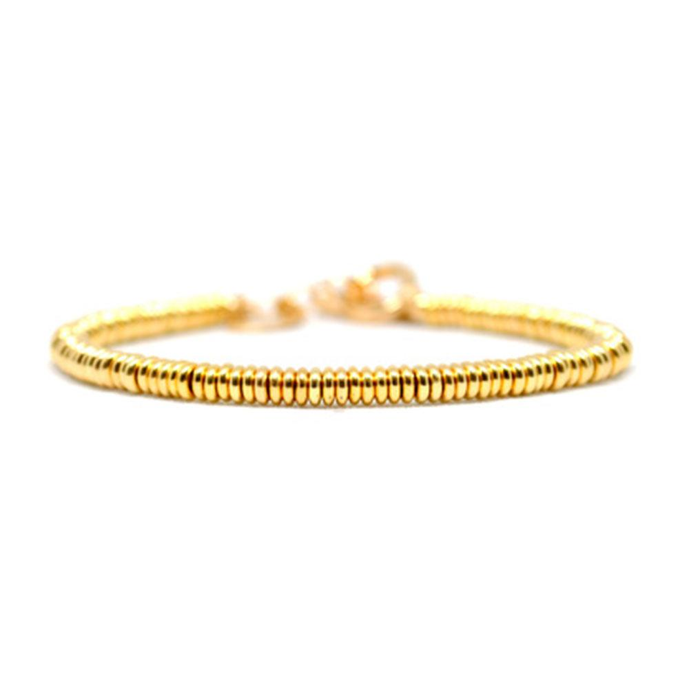 Single Beaded Bracelet | Yellow Gold Beads | Double Bone