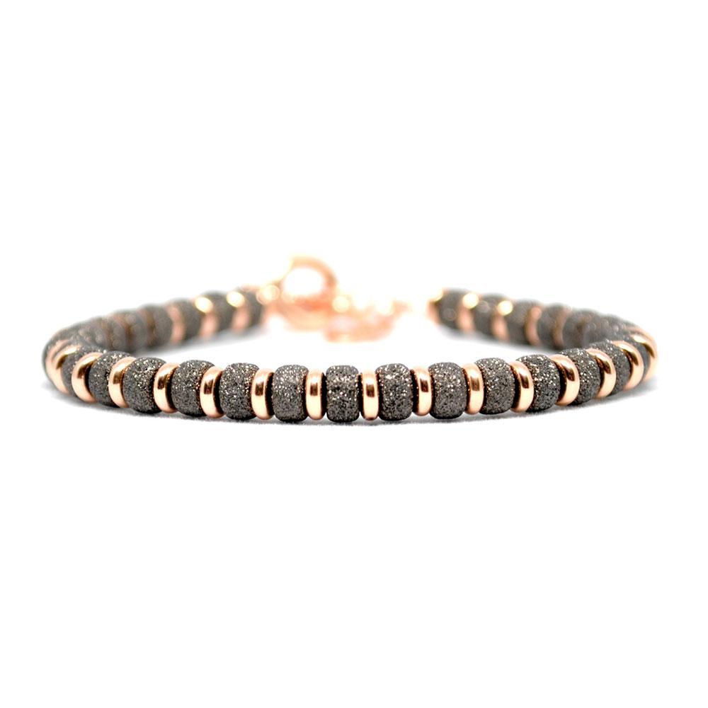 Multi Beaded Bracelet | Black/Rose Gold Beads | Double Bone
