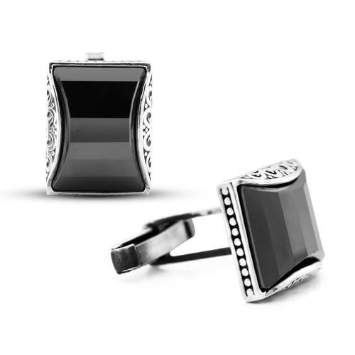 Black Zircon Stone Cufflinks