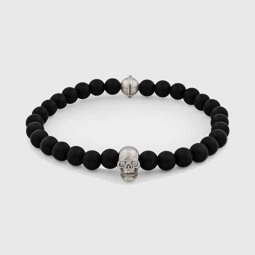 Skull Bracelet | Sterling Silver w/ Diamond Eyes