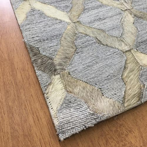 Handmade Jacquard Leather Gray Ivory Rug | Leather Rugs