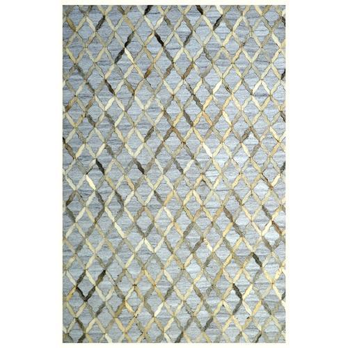 Handmade Jacquard Leather Gray Ivory Rug | Leather Rugs