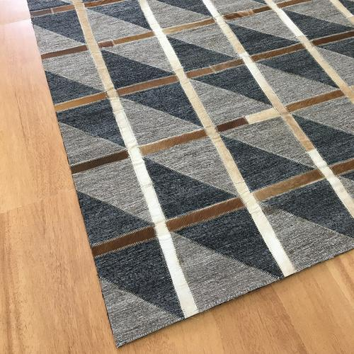 Handmade Jacquard Leather Brown Charcoal Rug