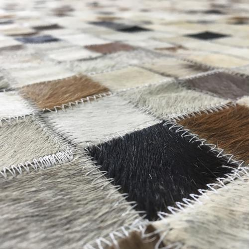 Handmade Jacquard Leather Ivory | Brown Rug