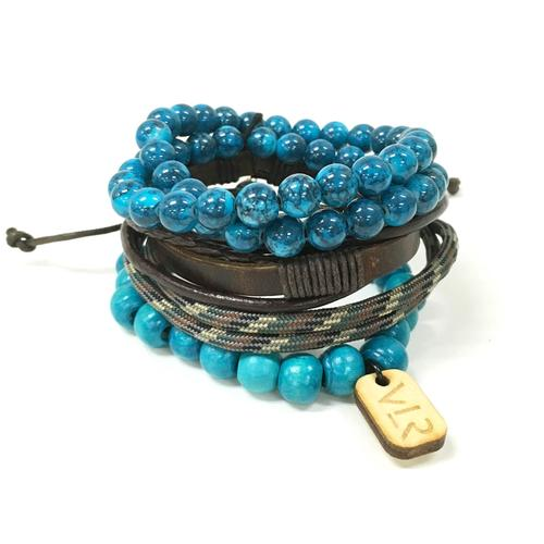 Variety Bracelet Set | Teal and Brown