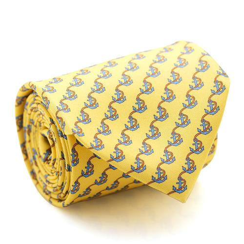 Necktie | Yellow with Anchore and Rope Pattern