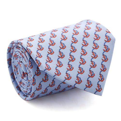 Necktie | Light Blue with Anchore and Rope Pattern