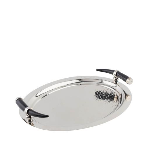 Stainless Steel   Oval Tray with Horn Inspired Handles