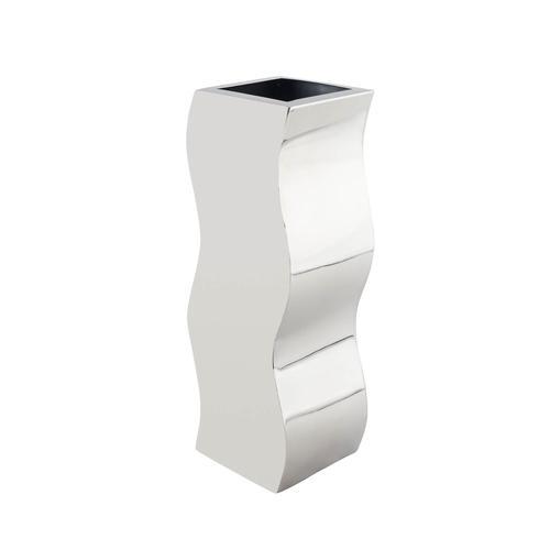 Stainless Steel   Circlular Zig-Zag Vase