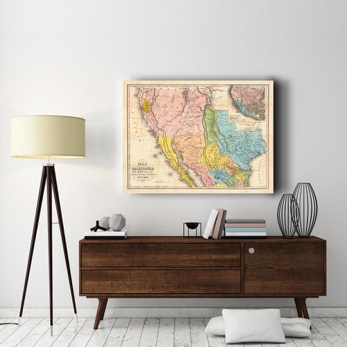 Map of California, New Mexico & Texas | Canvas