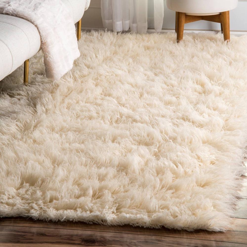 Greek Flokati Natural Wool Rug Two Birds Home