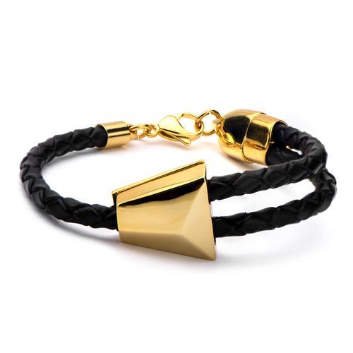 Men's Black Braided Leather & Gold IP Bolo Bracelet