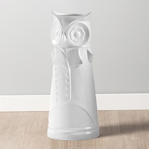Notable Owl White Ceramic Umbrella Stand