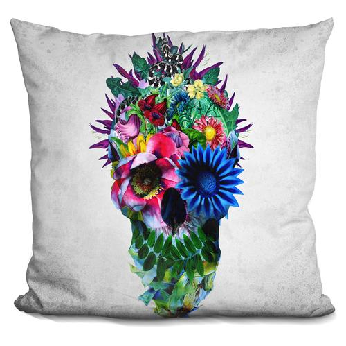 Riza Peker 'Floral Skull Blue' Throw Pillow