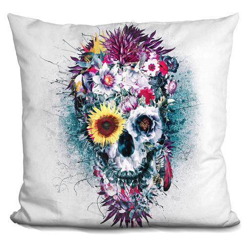 Riza Peker 'Skull Blue' Throw Pillow