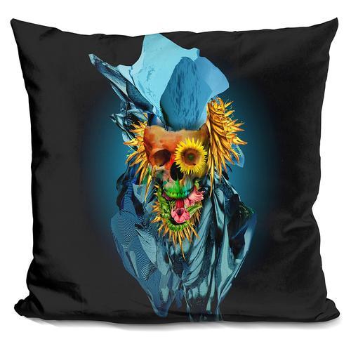 Riza Peker 'Floral Skull Vivid IV' Throw Pillow