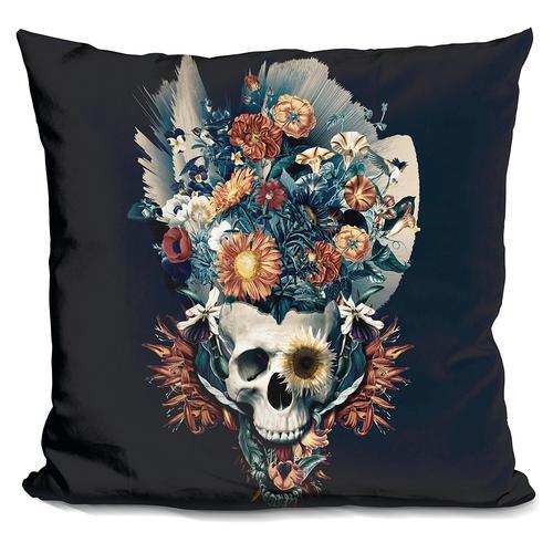 Riza Peker 'Skull and Flowers' Throw Pillow