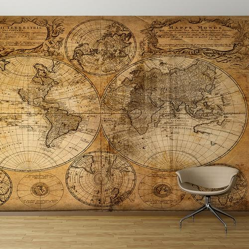 Vintage hemisphere map wall mural for Antique map mural