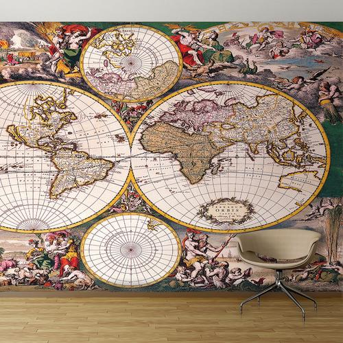 Colorful old world map wall mural for Antique world map wallpaper mural