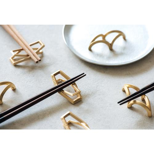 STRAIGHT   Gold Chopstick Rack (2 in 1 set + leather case)