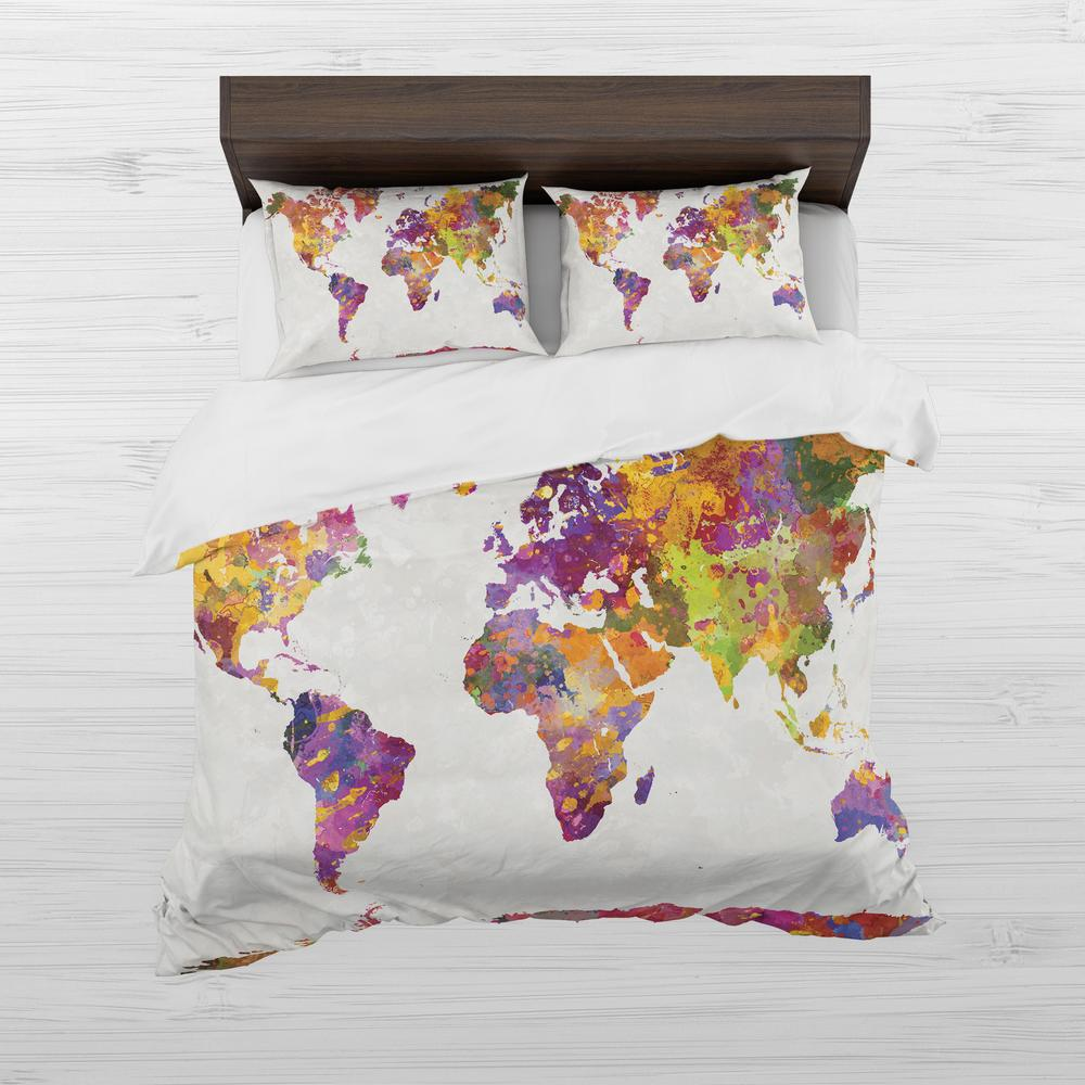 World map duvet cover queen map gold vintage duvet cover by watercolor world map duvet cover set gumiabroncs Gallery