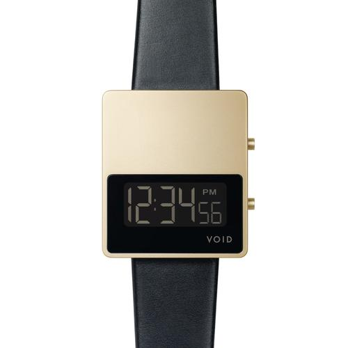 Matte Gold LCD w Black leather strap   Gold buckle