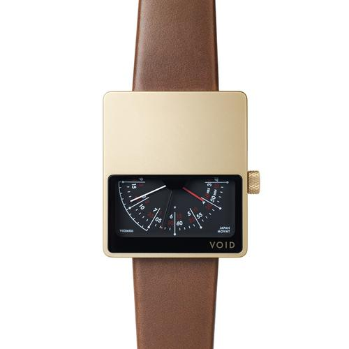 Matte Gold Analogue w Light Brown leather strap | Gold buckle
