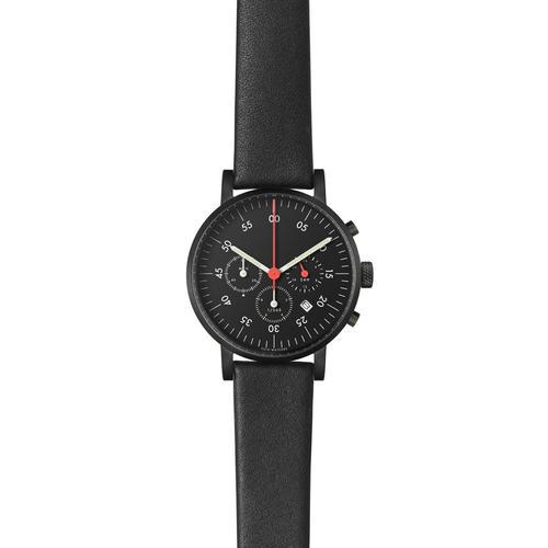 Black Round Chronograph w Black leather strap   Black dial