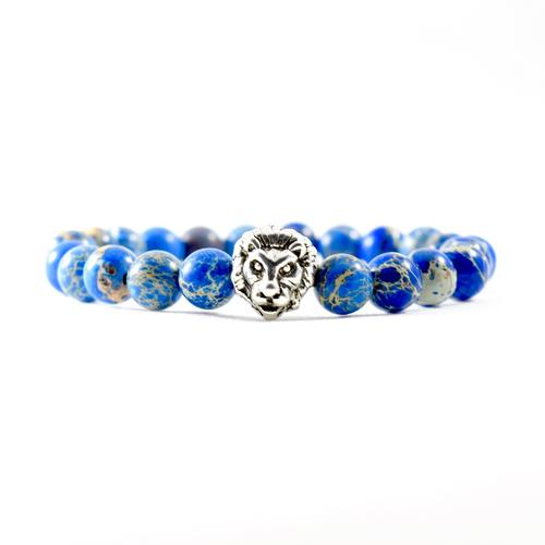 Deep Sea Jasper | Silver Lion Bracelet